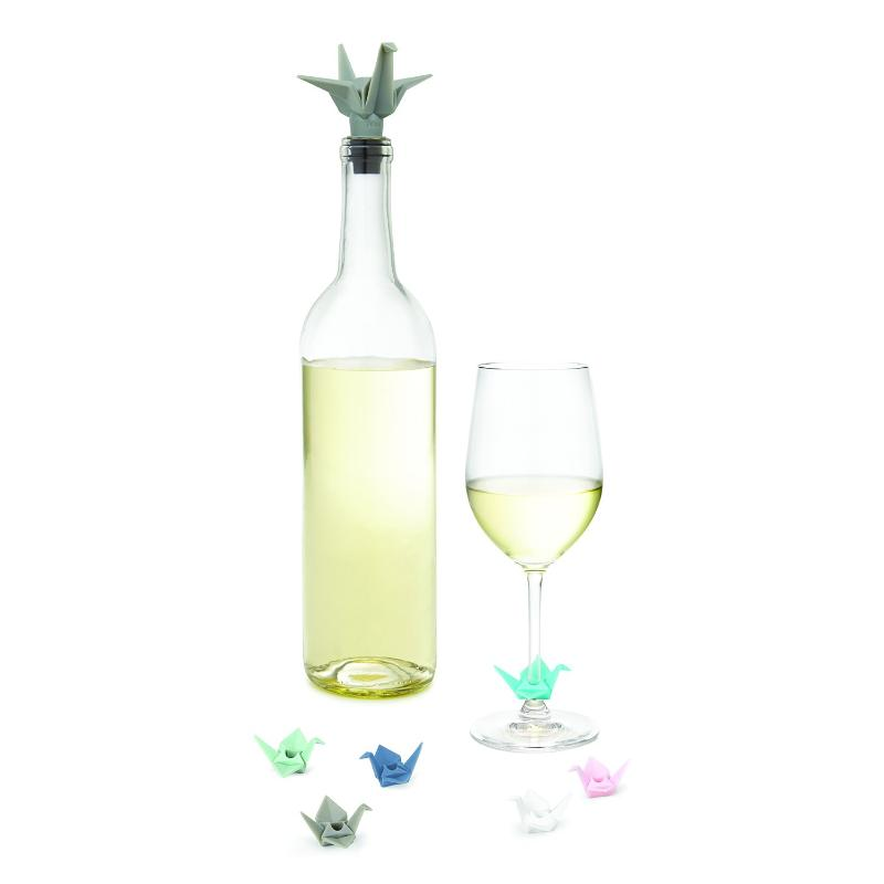 Origami Wine Charms & Topper Set