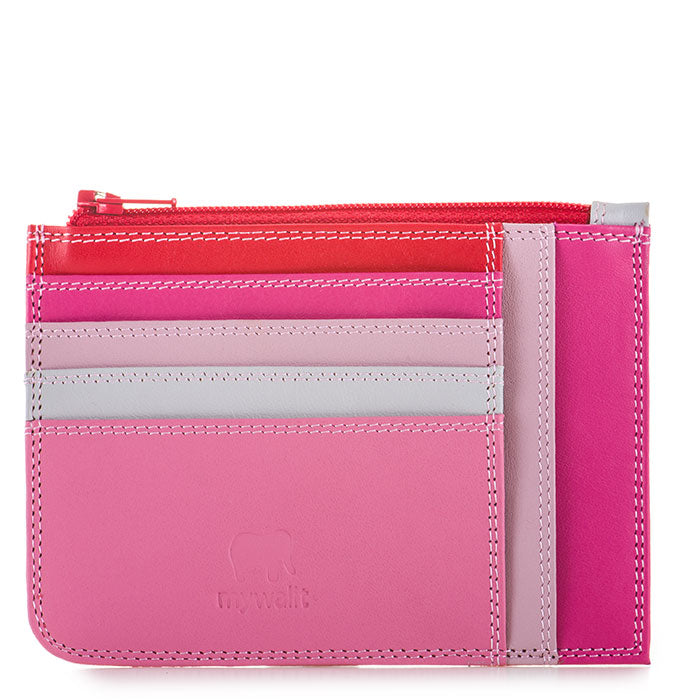 MyWalit Slim Credit Card Holder with Coin Purse, Ruby