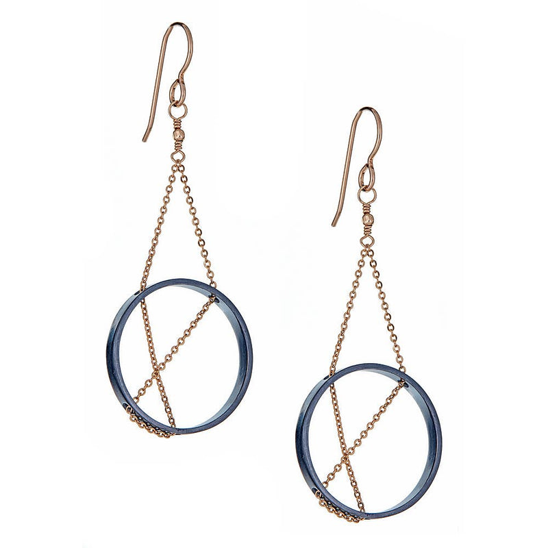 Inner Circle Earrings in Oxidized Silver with Gold Chain