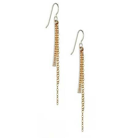 Vanessa Gade Jewelry Design, Cascade Earrings, Silver and Gold