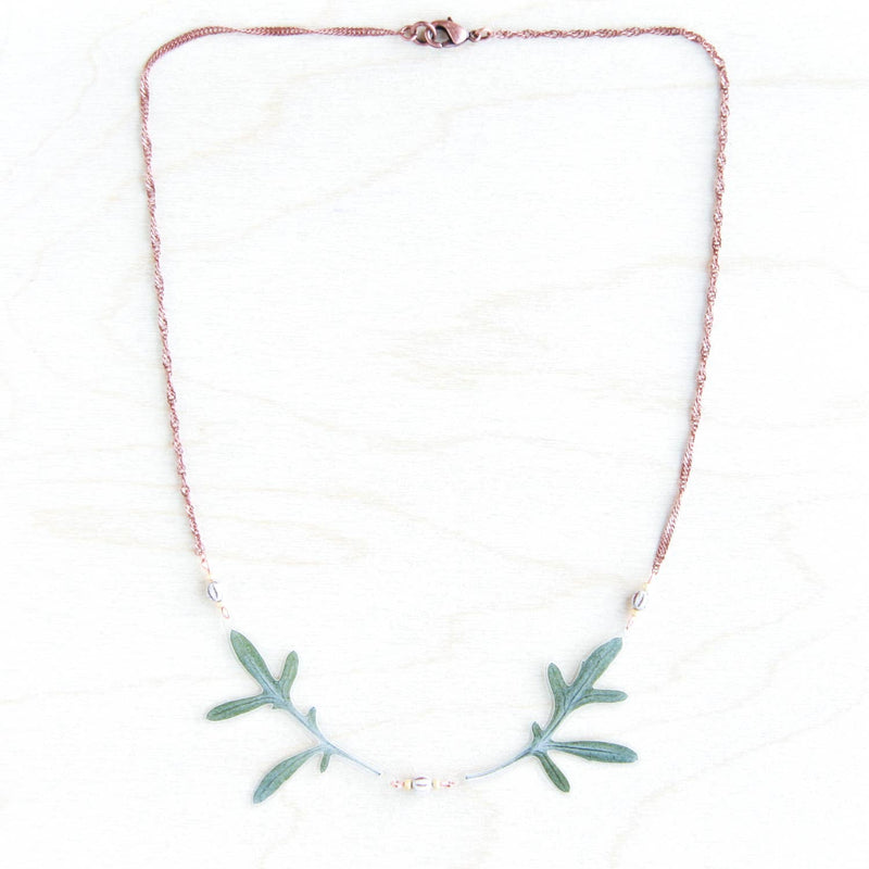 Green Dusty Miller Leaf Beaded Wings Necklace