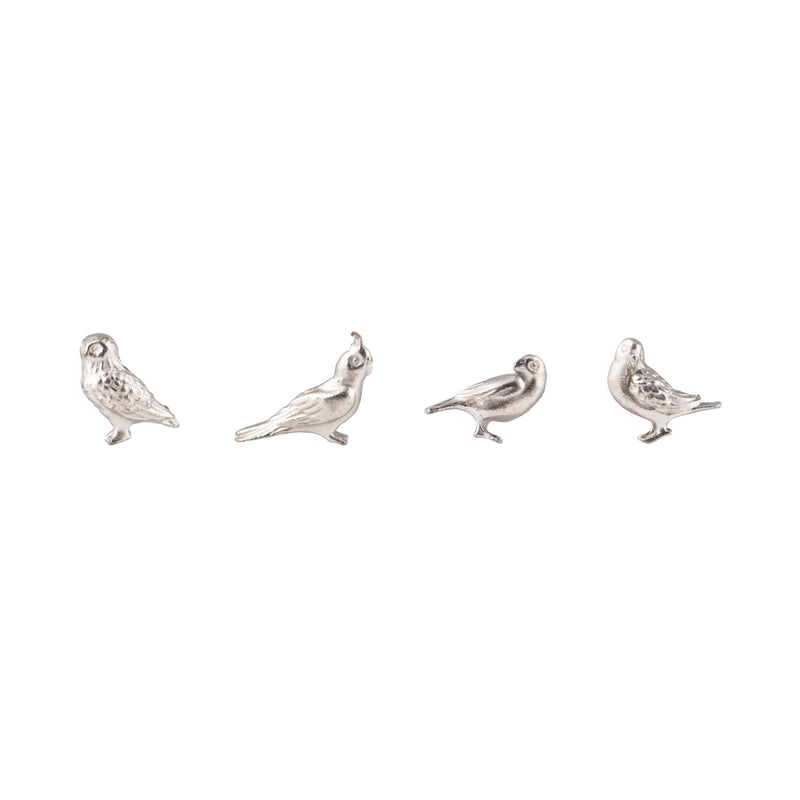 Three by Three Cast Animal Magnets - Silver Birds