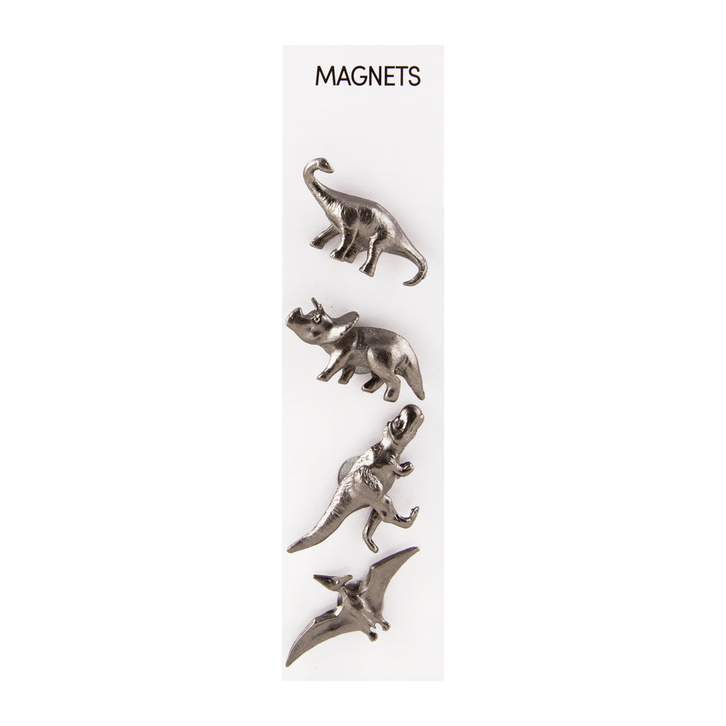 Three by Three Cast Animal Magnets - Pewter Dinosaurs