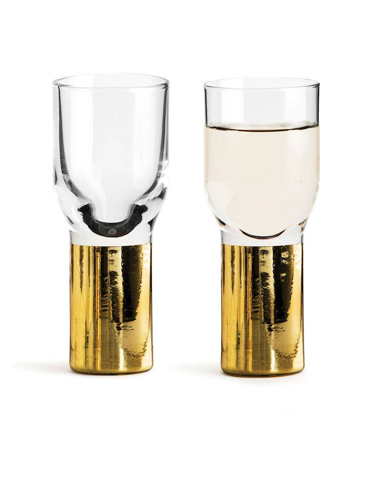 Club Gold Glassware, Set of 2 Shot Glasses
