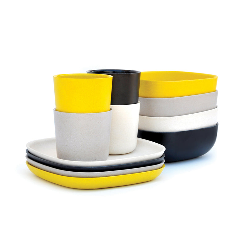 EKOBO, Bamboo Breakfast Dish Set, Black/Stone/Off-White/Lemon
