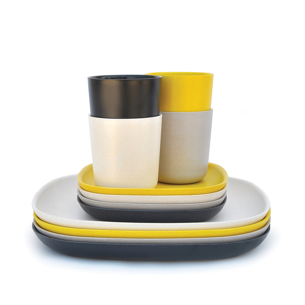 EKOBO, Bamboo Lunch Set, Black/Stone/Off-White/Yellow