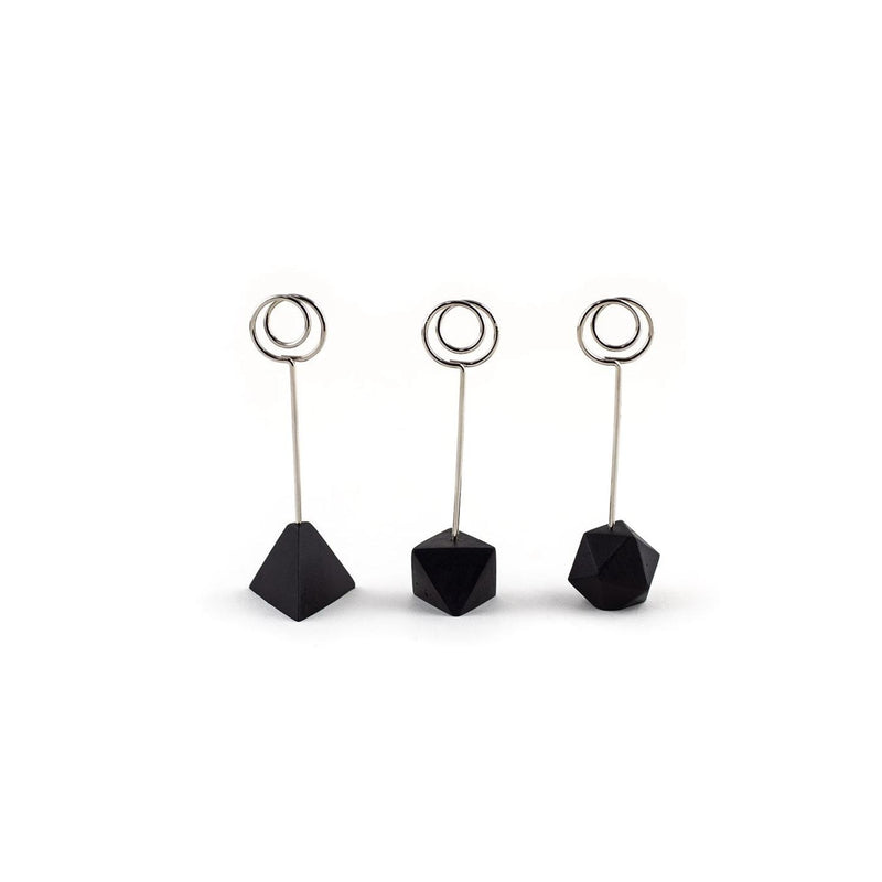 Polyhedra Photo+Card Stands, Black/Silver