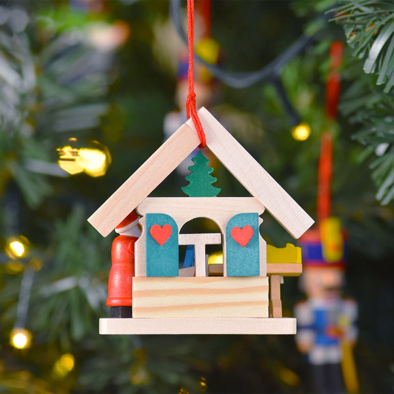 "House ""Santa Claus"" Ornament Feeding Bird"