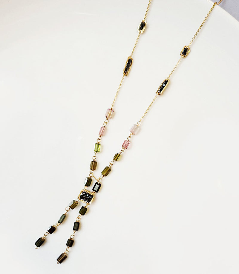 "Necklace 16-18"" gold filled tourmaline mutli/black spinel"