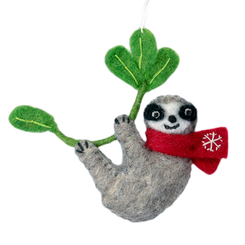 Wild Woolies, Felted Snowflake Sloth Ornament