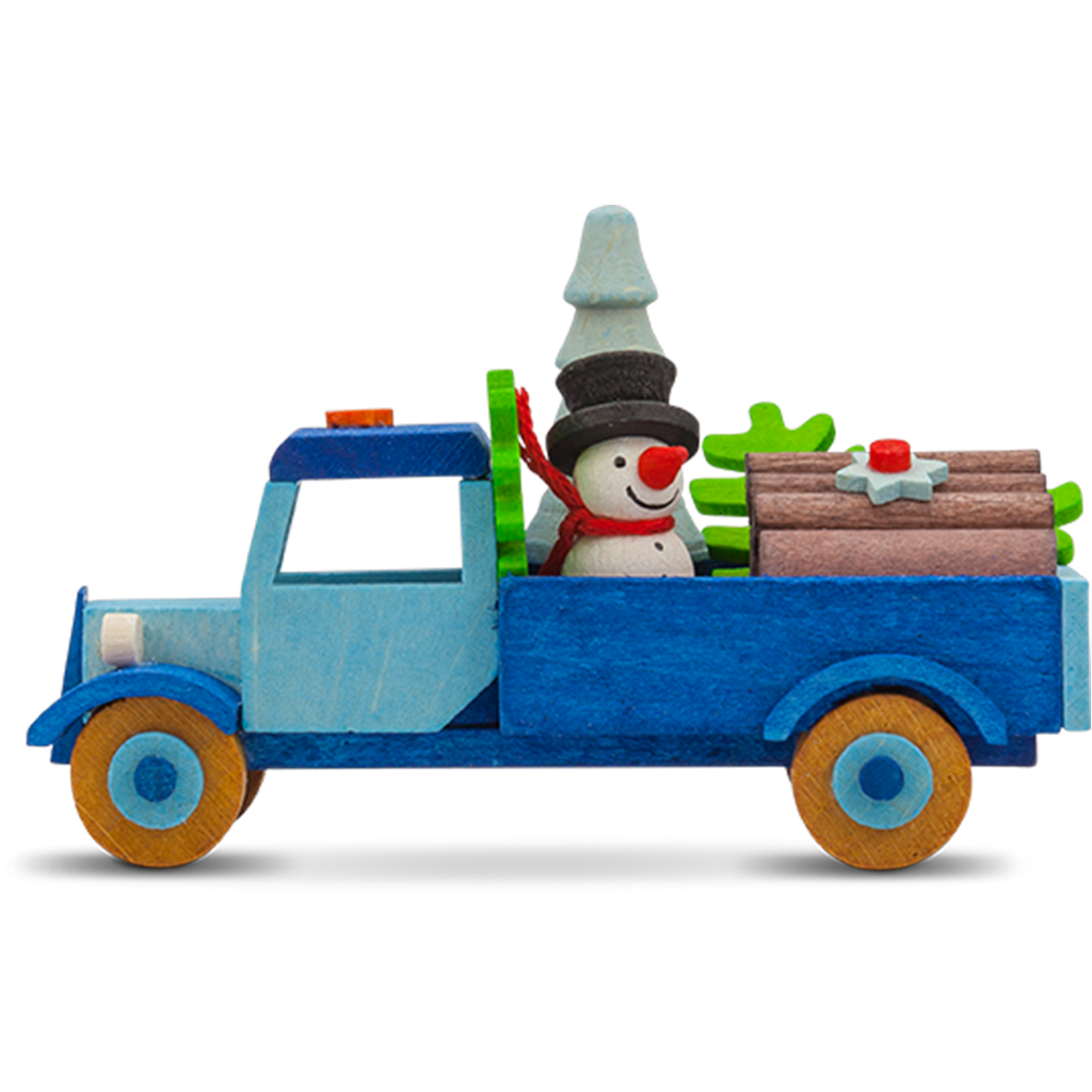 Christmas Truck Ornament with Snowman & Tree