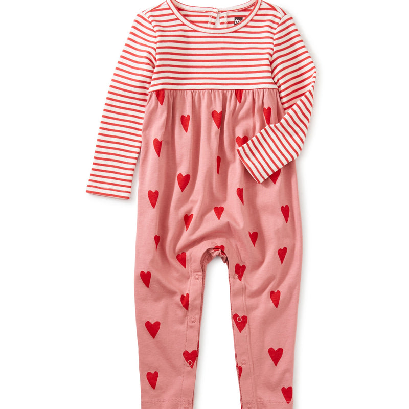 Print Mix Baby Romper in Sweethearts in Mauveglow by Tea Collection