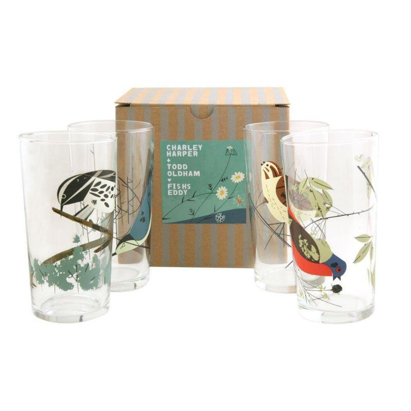 Harper + Oldham Birds Glasses Set of 4