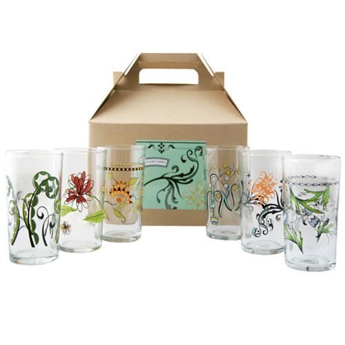 Floral Italian Wine Glasses Gift Box of 6