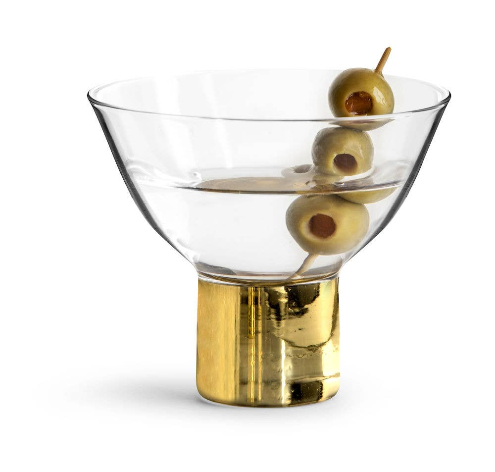Club Gold Glassware, Set of 2 Cocktail Glasses
