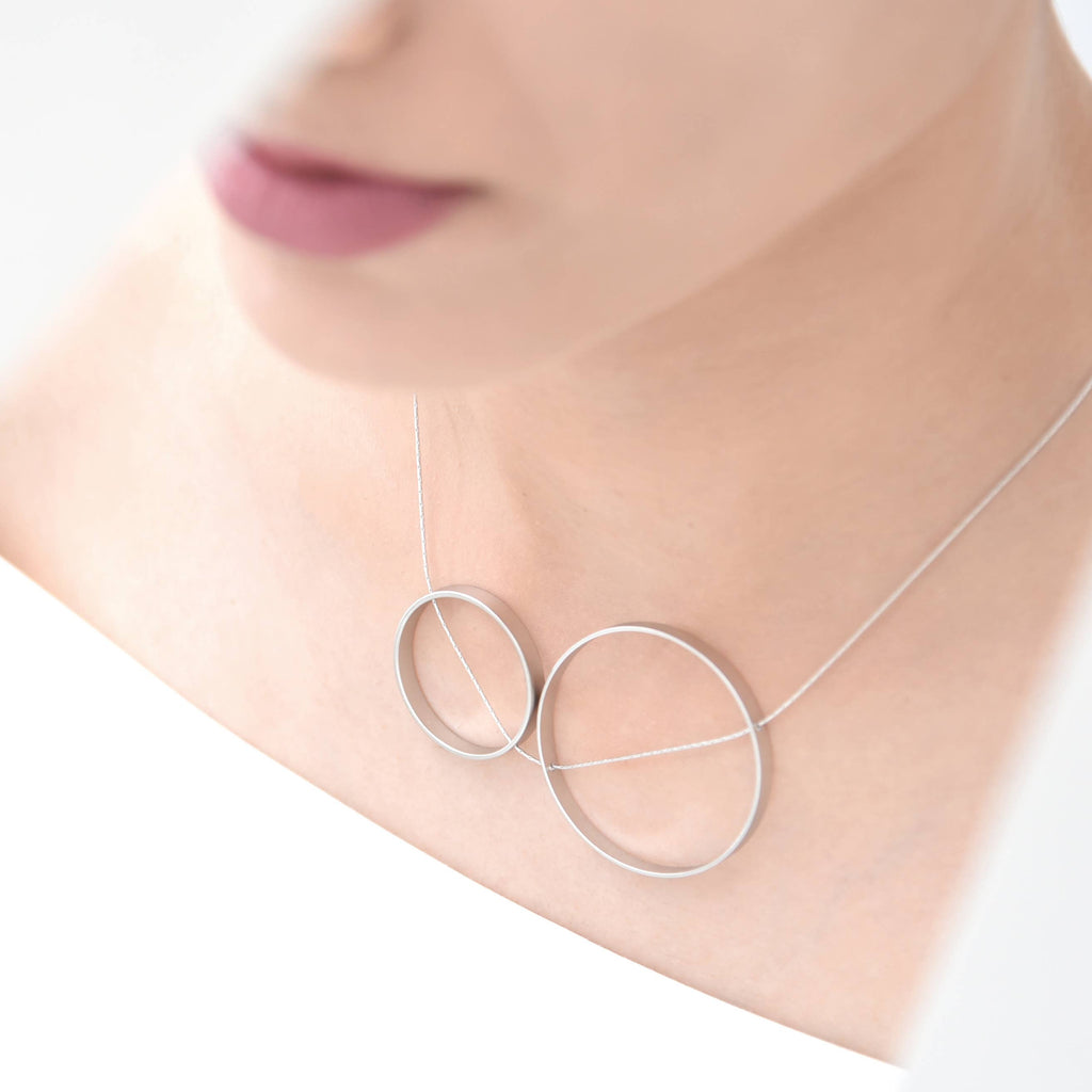 Pursuits Duet Necklace, Satin Silver