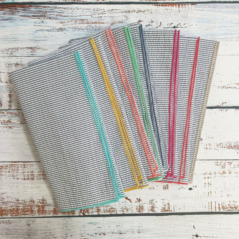 Grey Seersucker Cloth Napkins with Colorful Edges, set of 8