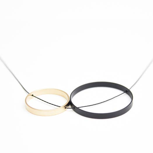 Pursuits Duet Short Necklace, Black + Gold