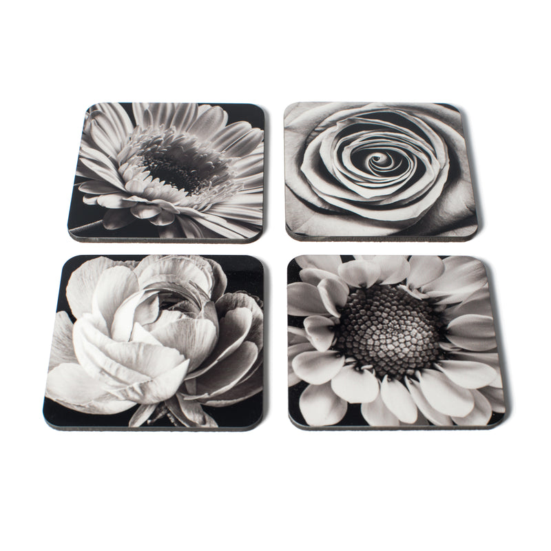Coasters - Flower Portraits Black & White