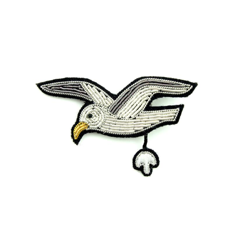 Embroidered Pin: Flying Seagull