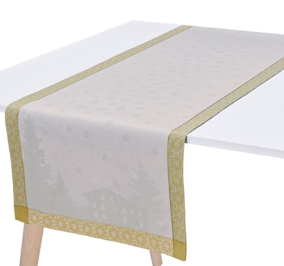 Le Jacquard Francais, Sommets Enneigés / Snow Capped Peaks - Table Runner in Snow
