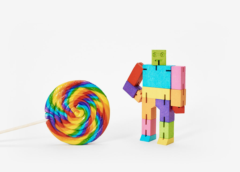 Areaware, cubebot, small, multi colored, movable arms, jointed figure