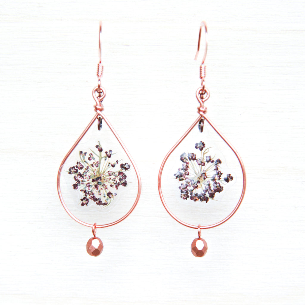 Queen Anne's Lace Pressed Flower Earrings