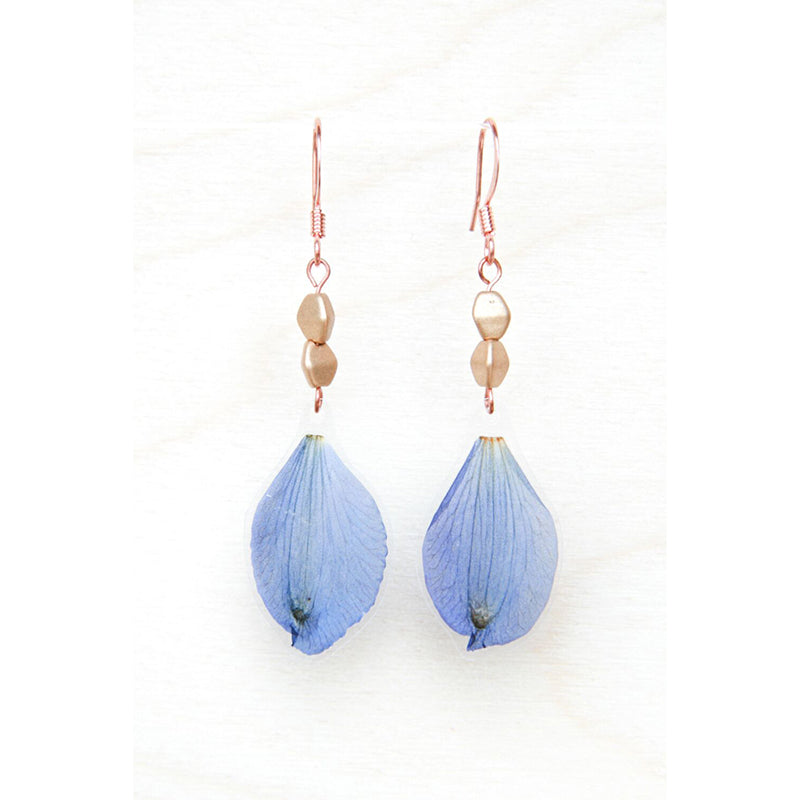 Delphinium Pressed Petal Earrings