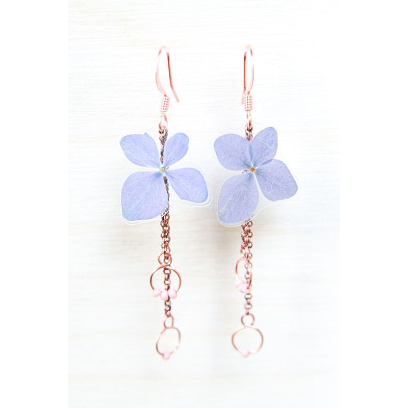 Purple Hydrangea Pressed Flower Earrings