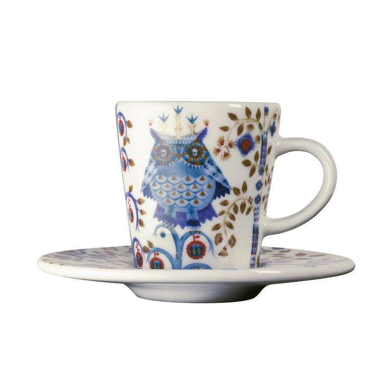 "Iittala, Taika Espresso Cup with Saucer, Designer Klaus Haapaniemi's Taika (meaning ""magic"" in Finnish) inspires imagination and storytelling, letting you choose from a variety of bold and enchanting pieces. The vibrant designs gradually reveal their details and layers to the viewer. Haapaniemi's magic was combined with the shapes of the Aika series designed by Heikki Orvola.   Size: 2.4"" dia x 2.5"" h x 3.5 oz  Care instructions: •  Cold proof •  Microwave safe •  Oven safe •  Dishwasher safe"