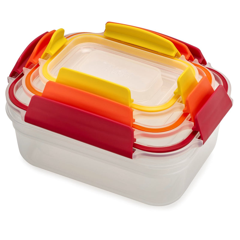 Joseph Joseph, Nest Lock Multi Size Containers, Tupperware, Storage Containers, Locking Containers, Red Orange Yellow