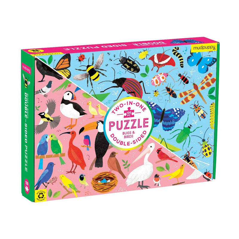 Mudpuppy, Bugs & Birds 100 Piece Double-Sided Puzzle