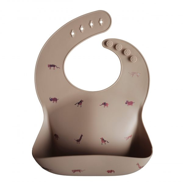 Mushie Silicone  Baby Bib, Safari Tan