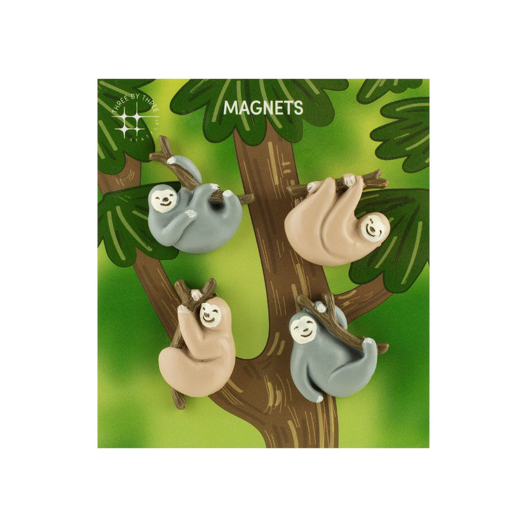 Three by Three, Polyresin Animal Magnets - Sloths