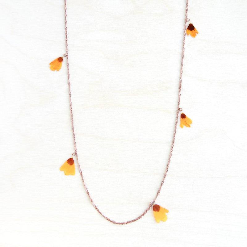 Yellow Coreopsis Pressed Flower Necklace