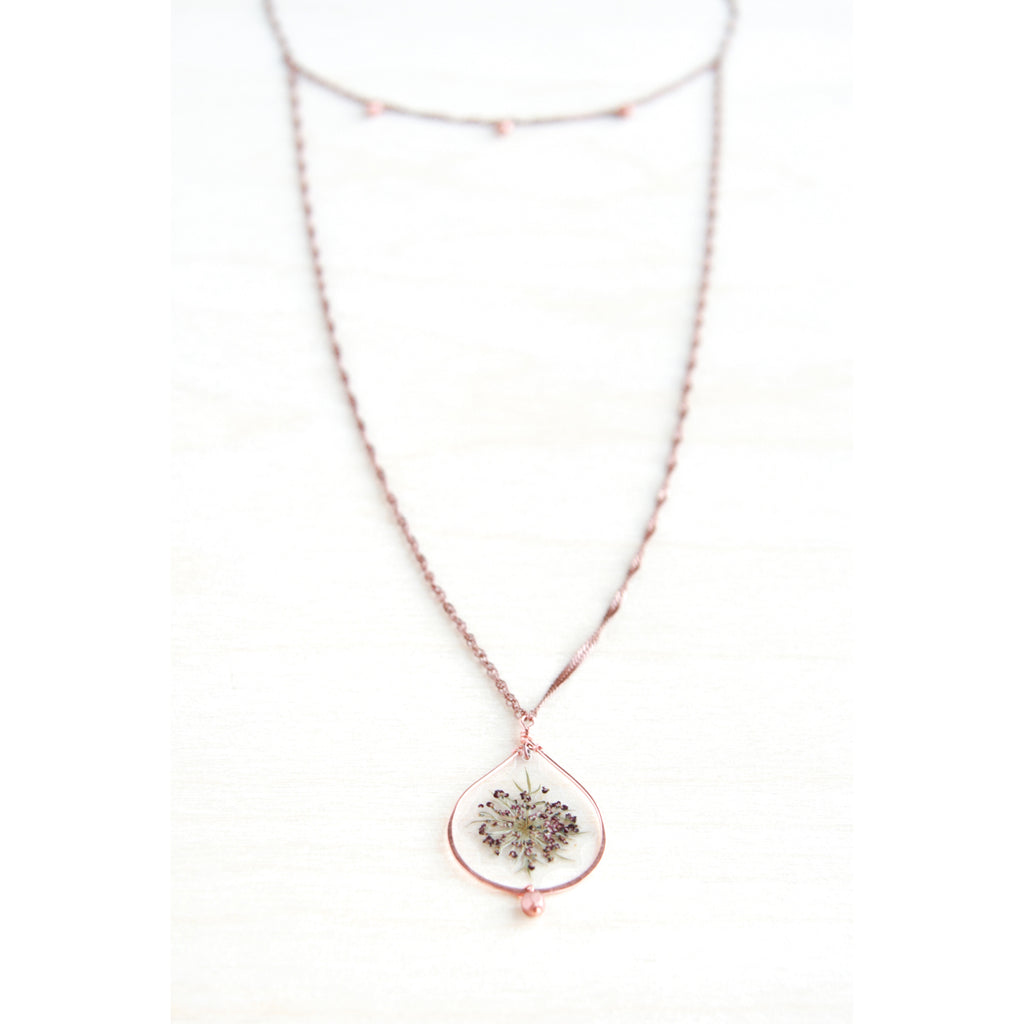 Queen Anne's Lace Pressed Petal Necklace