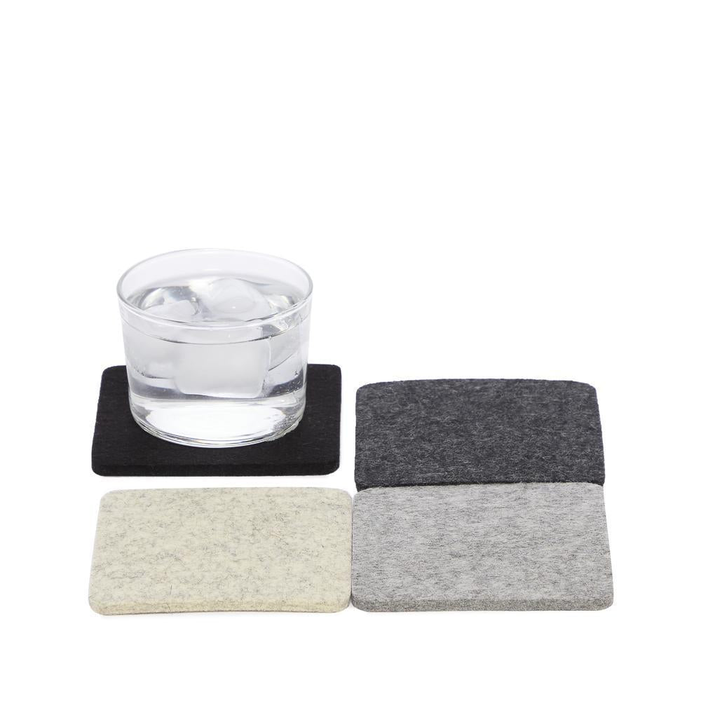 Noir Bierfilzl Square Multi-Color Coasters
