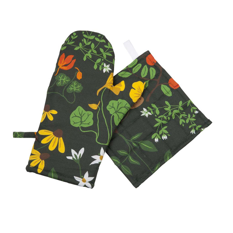 Leksand Green Oven Glove and Pot Holder