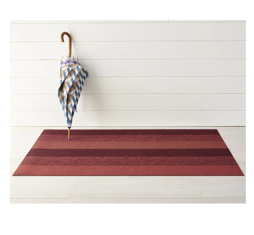 Marbled Stripe Shag Mat in Ruby