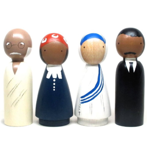 Gandhi, Harriet Tubman, Mother Teresa, and Martin Luther King, Jr. Goose Grease, The peace makers peg dolls, wooden dolls