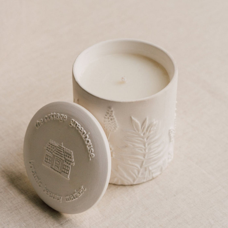 Cottage Greenhouse, Cedar & Sweet Orange Ceramic Candle