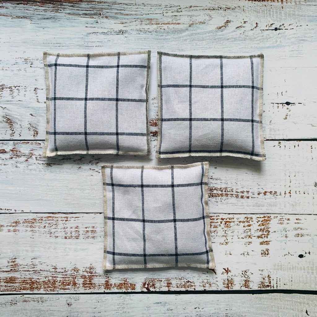 Lavender Sachets in Windowpane, Set of Three