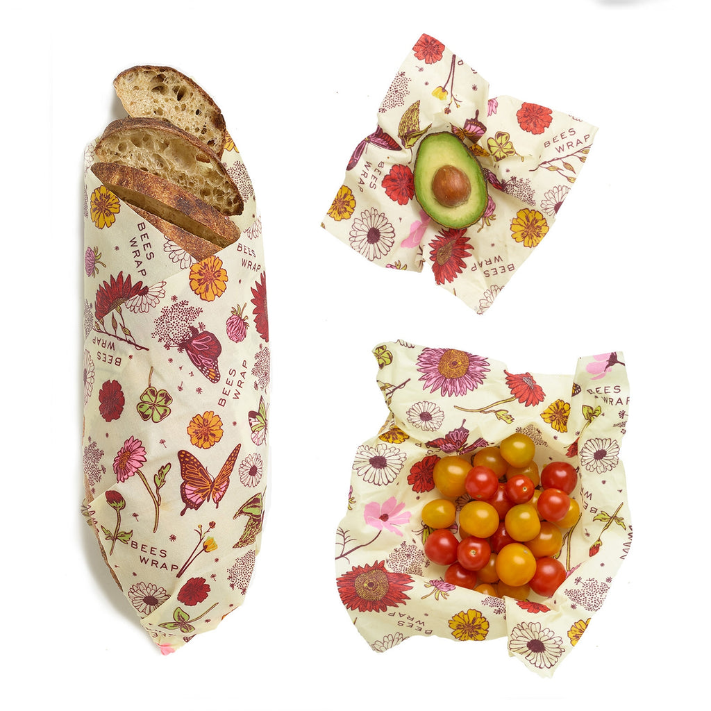 Bee's Wrap, Assorted Set of 3 Sizes in Vegan Meadow Magic