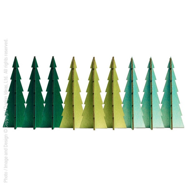 Tannenbaum Trees, Assorted Small Set of 9 - Greens