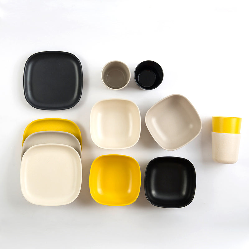 Ekobo Bamboo Breakfast Dish Set, Black/Stone/Off-White/Lemon