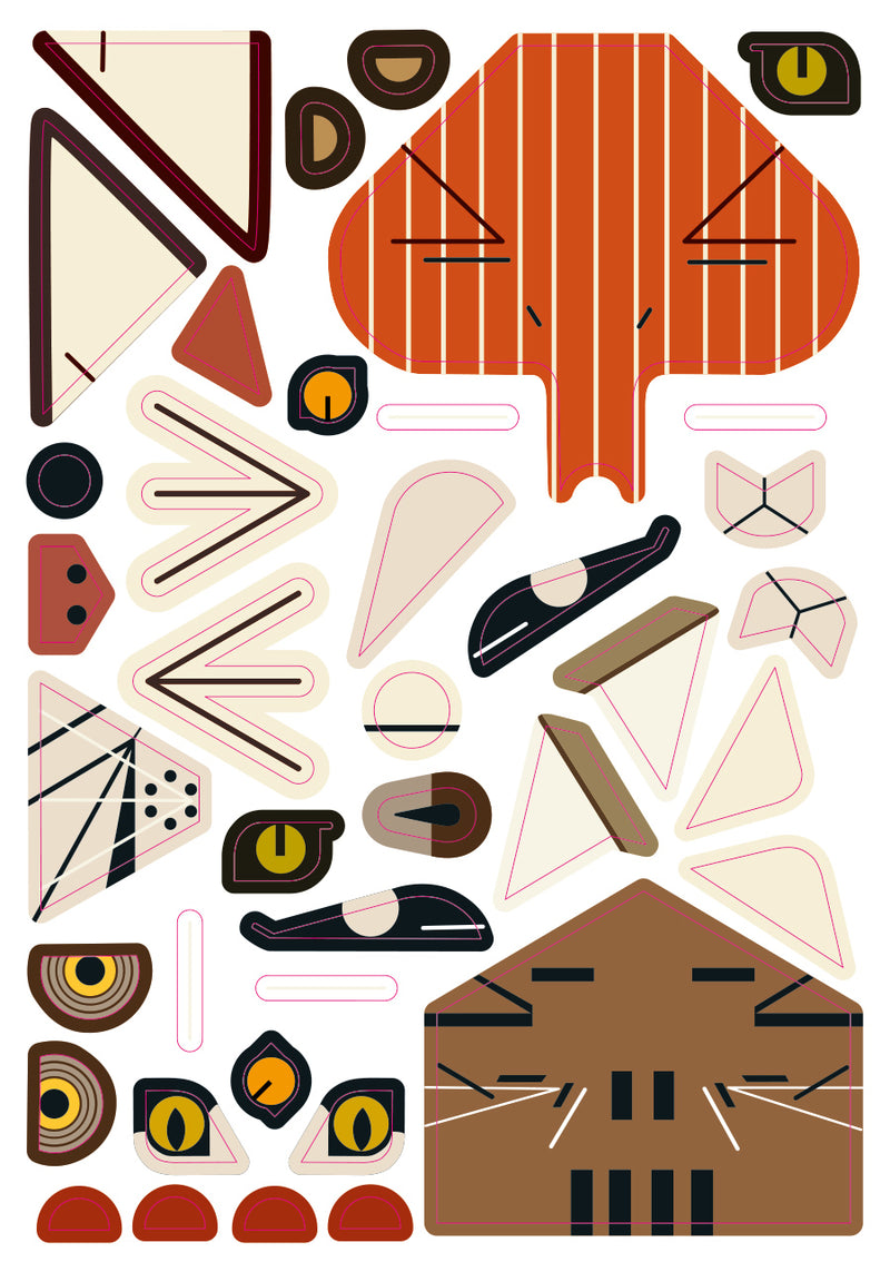 Charley Harper' Animals in Amreica's natonal parks Sticker Kit