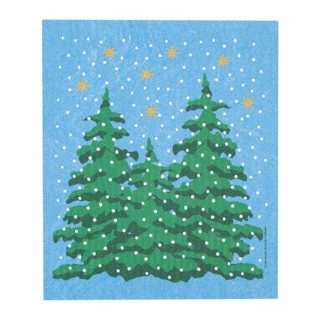 Swedish Dish Cloth - Winter Forest in Blue