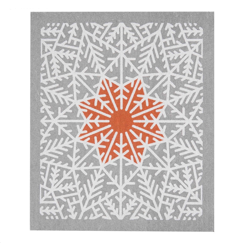 Swedish Dish Cloth - Snow Crystal in Grey