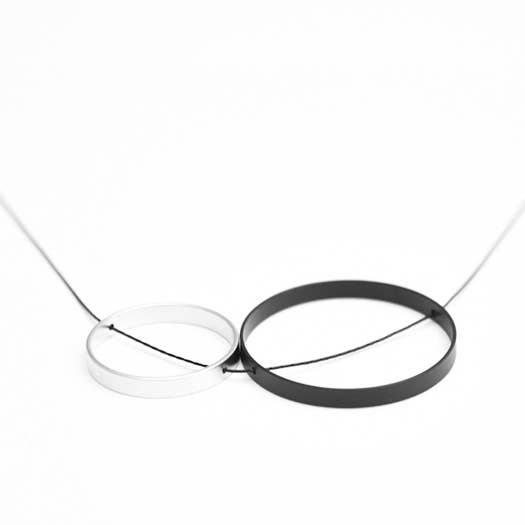 Pursuits Duet Necklace, Black Silver