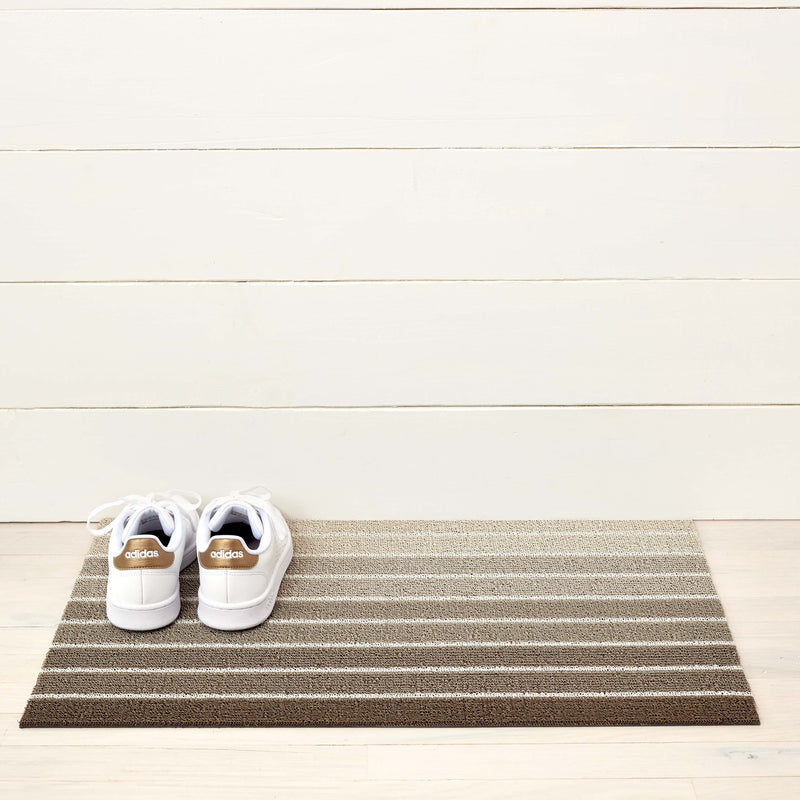 Shag Floormat, Block Stripe in Taupe